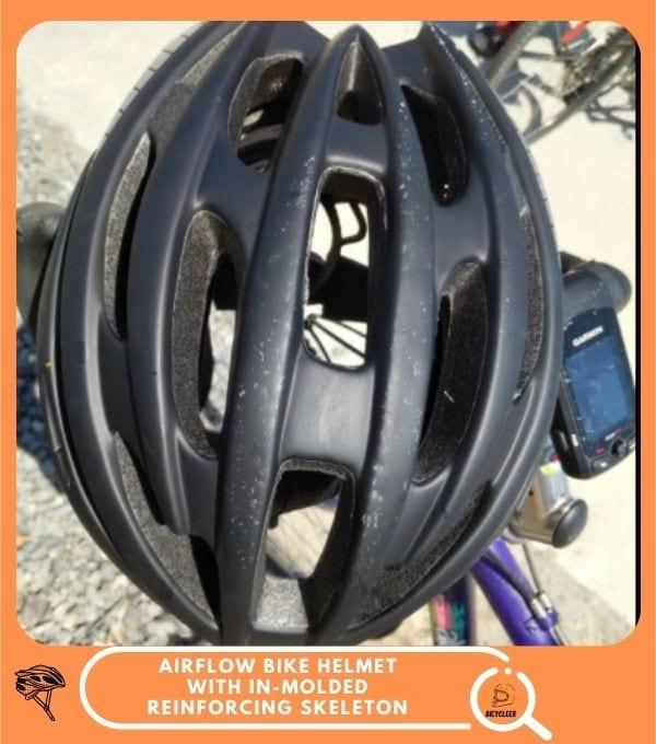 Airflow Bike Helmet with in-Molded Reinforcing Skeleton